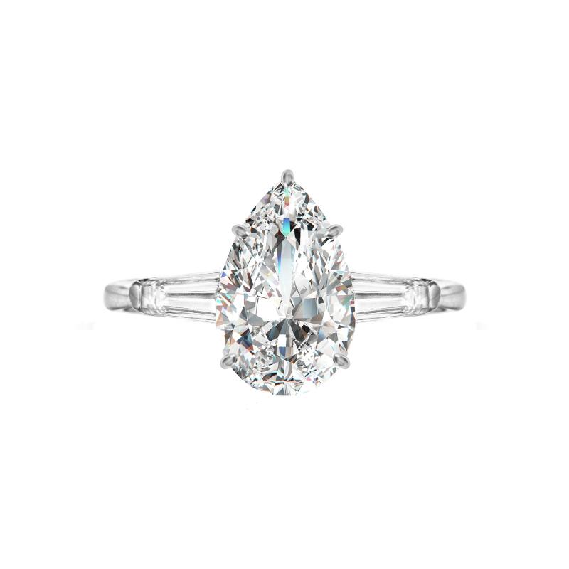 2 Carat Pear Diamond & Baguette Three Stone Ring