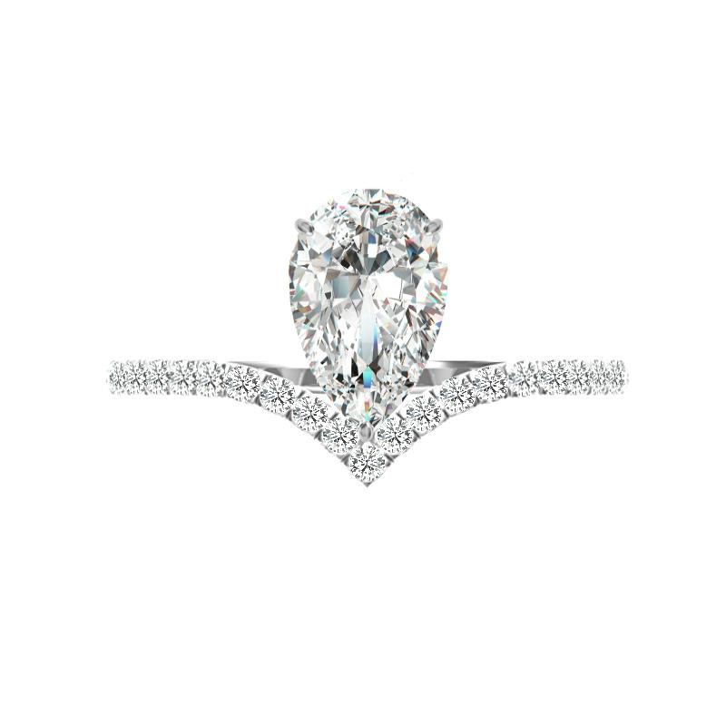 2 Carat Pear Diamond Chevron Ring