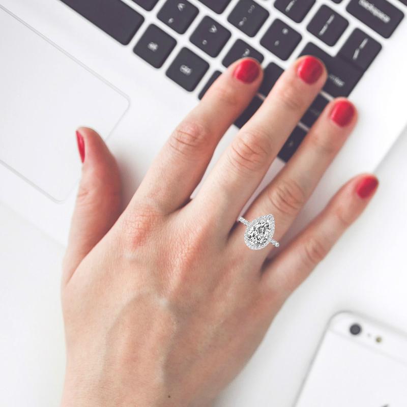 2 Carat Pear Diamond & Double Edge Halo Ring