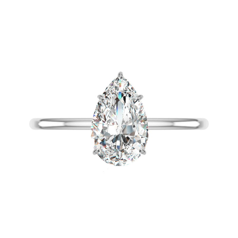 2 Carat Pear Lab Grown Diamond & Hidden Halo Solitaire Ring
