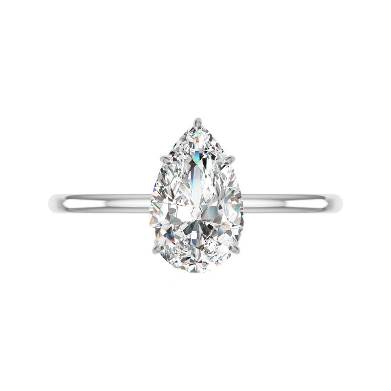 2 Carat Pear Lab Grown Diamond & Hidden Halo Solitaire Ring