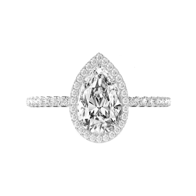 2 Carat Pear Diamond & Double Edge Halo Ring