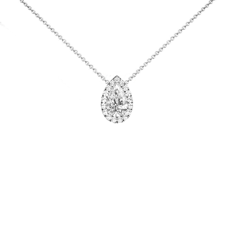2 Carat Pear Diamond & Halo Pendant Necklace