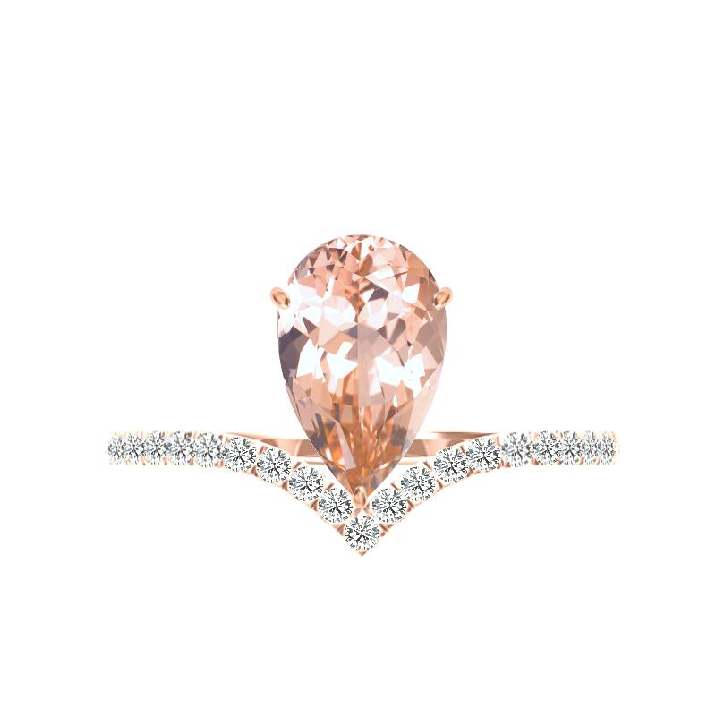 2 Carat Pear Morganite & Diamond Chevron Ring