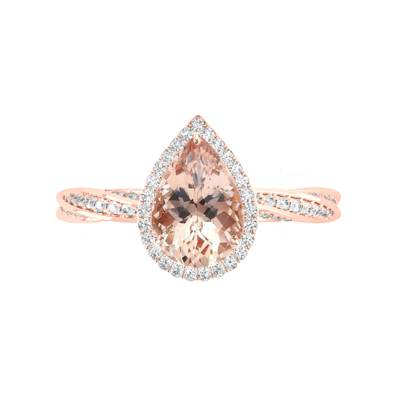 2 Carat Pear Morganite & Diamond Halo Spiral Band Ring