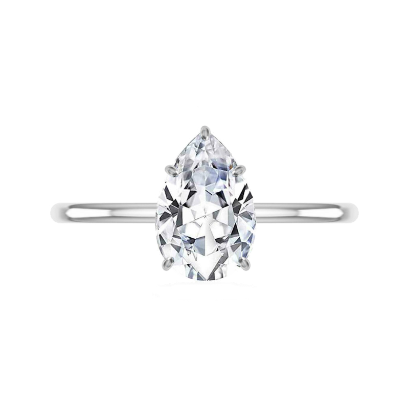 2 Carat Pear Moissanite & Diamond Prongs Solitaire Ring