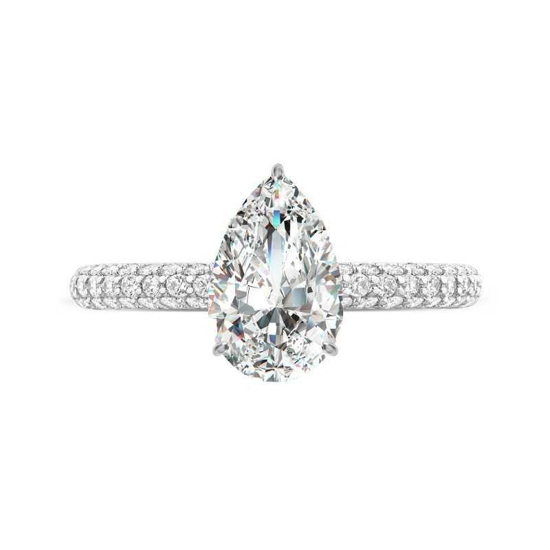 2 Carat Pear Diamond & Hidden Halo Micropave Ring