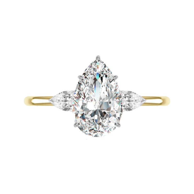 2 Carat Pear Diamond Three Stone Solitaire Ring
