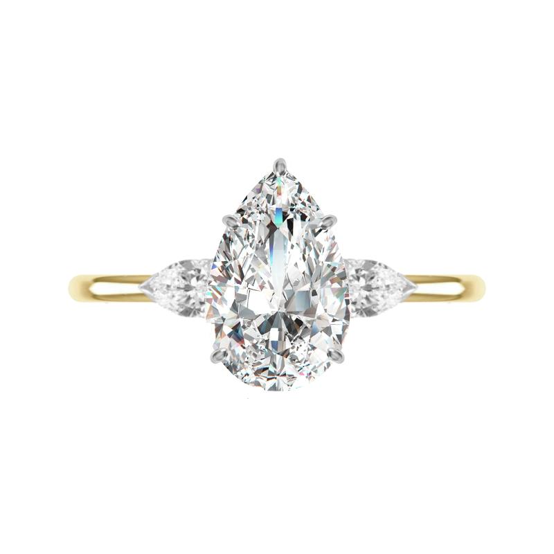 2 Carat Pear Diamond Three Stone Solitaire Ring