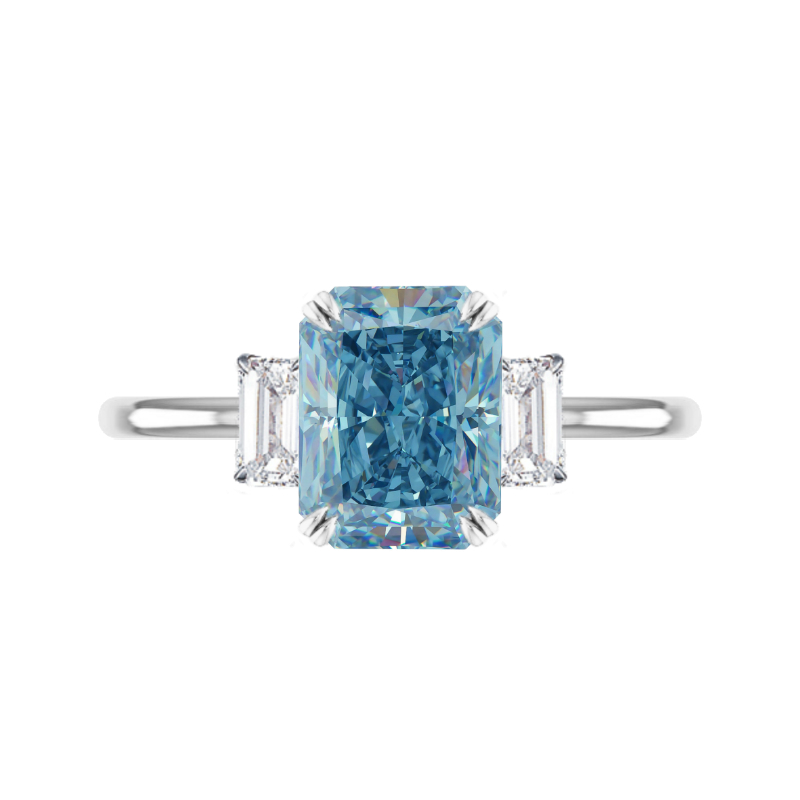 2 Carat Blue Radiant Lab Grown Diamond Three Stone Solitaire Ring