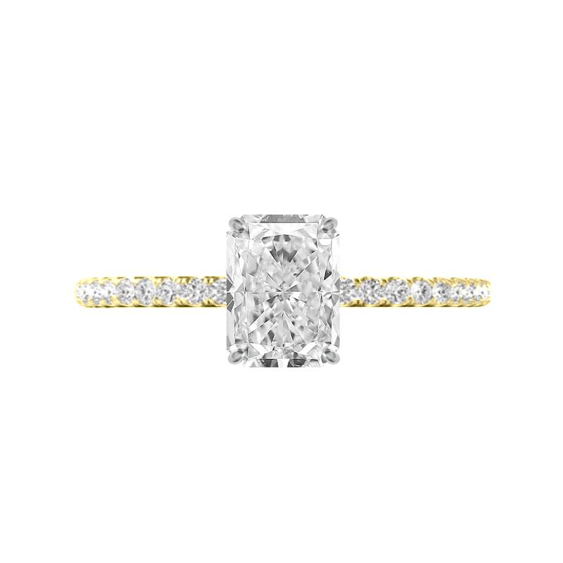 2 Carat Radiant Moissanite & Diamond Hidden Halo Ring
