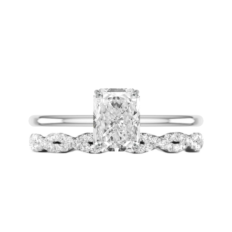 2 Carat Radiant Moissanite Solitaire & Braided Diamond Band