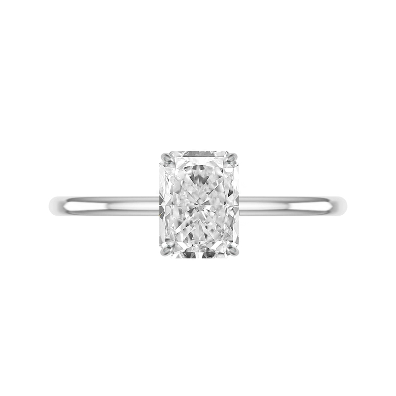 2 Carat Radiant Diamond & Hidden Halo Solitaire