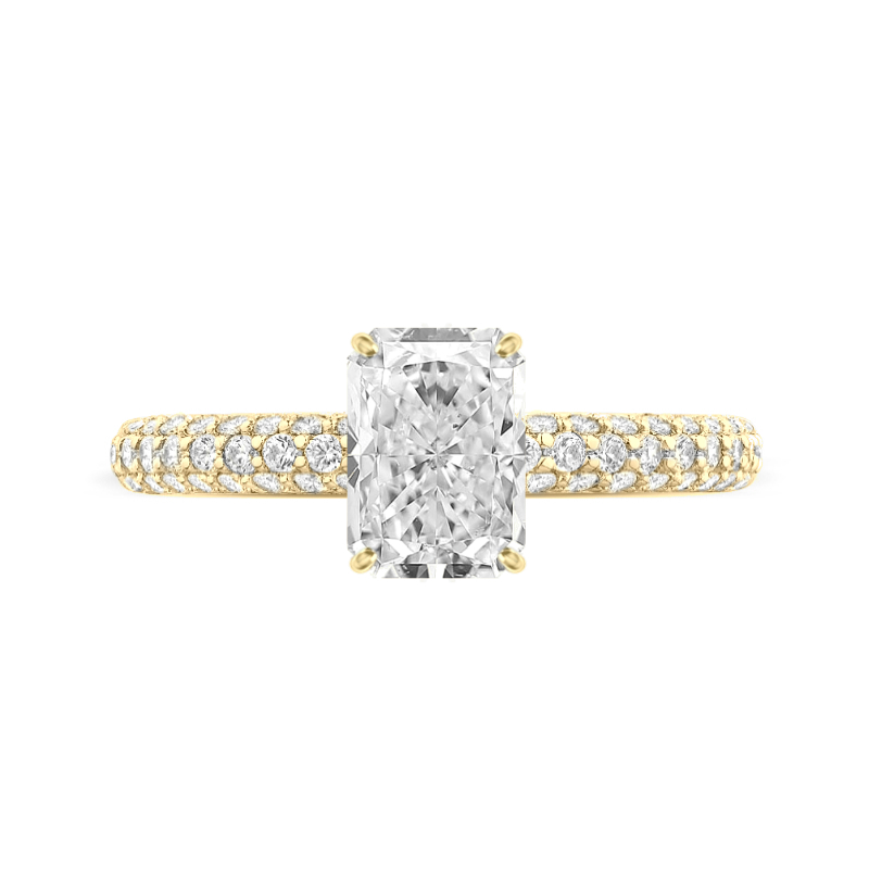 2 Carat Radiant Lab Grown Diamond & Hidden Halo Three Row Pave Ring