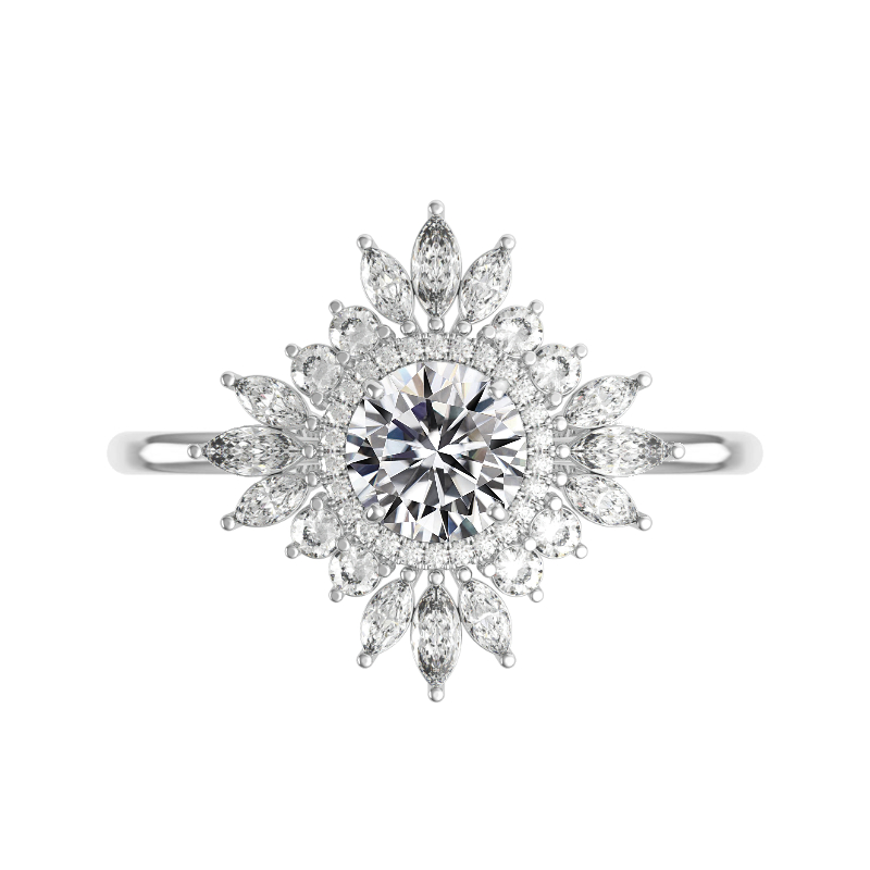 2 Carat Round Moissanite & Diamond Art Deco Halo Ring