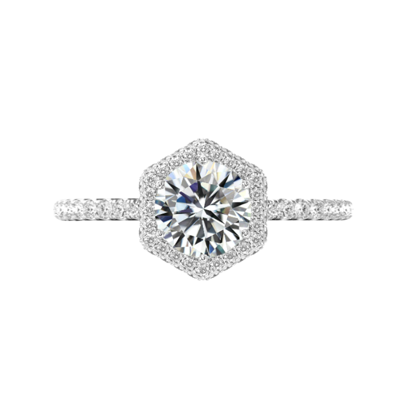2 Carat Round Lab Grown Diamond & Hexagon Double Edge Halo Ring