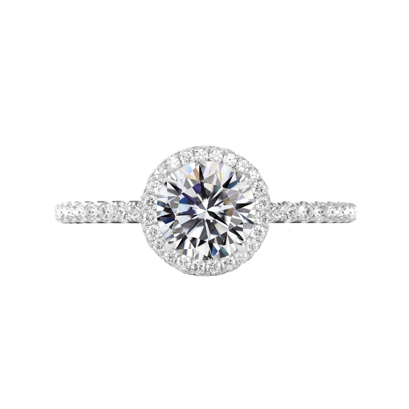 2 Carat Round Moissanite & Diamond Double Edge Halo Ring