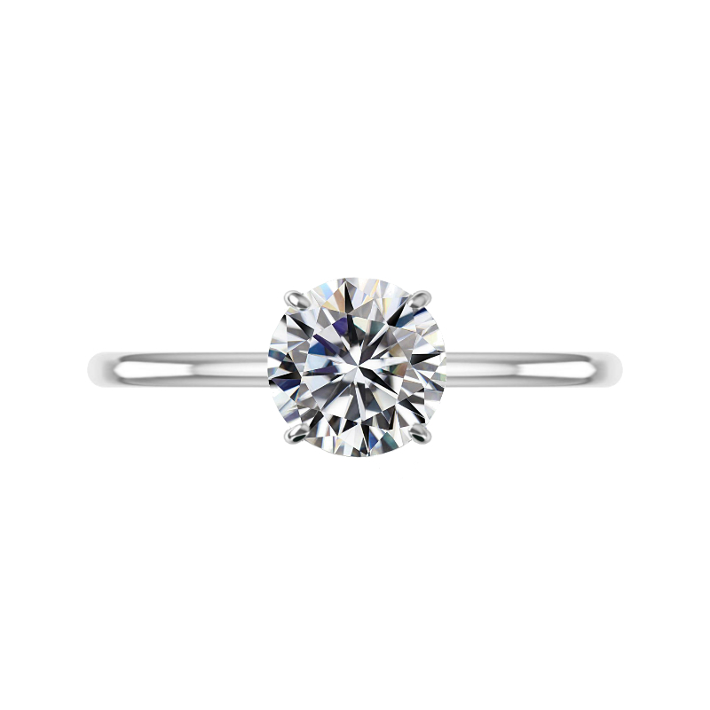2 Carat Round Moissanite & Bright Cut Pave Hidden Halo Solitaire