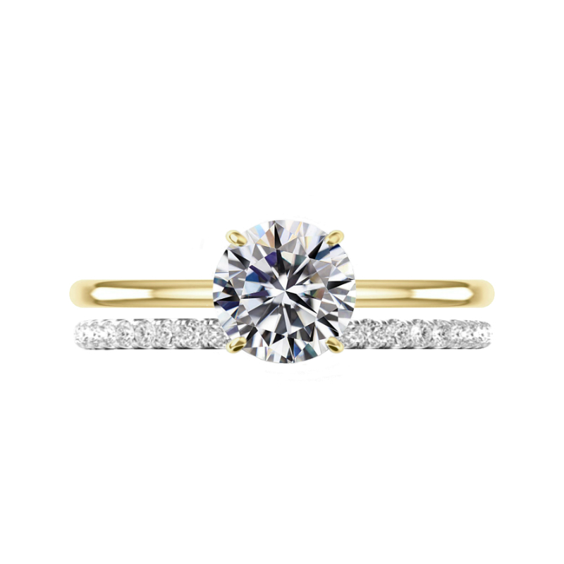 2 Carat Round Moissanite Solitaire & Diamond Band Set