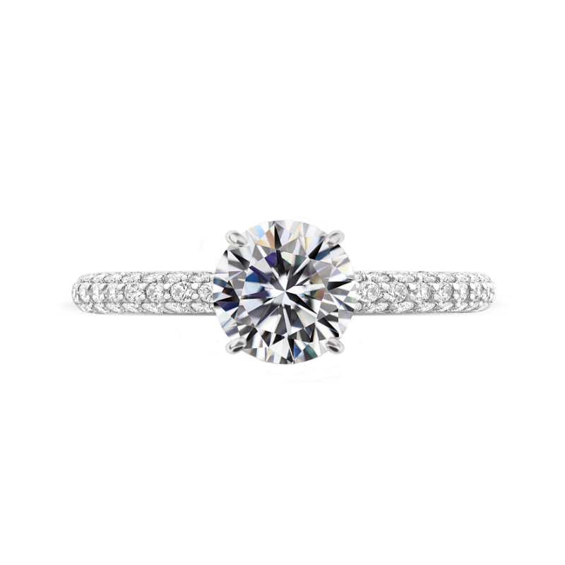 2 Carat Round Moissanite & Diamond Hidden Halo Three Row Pave Ring