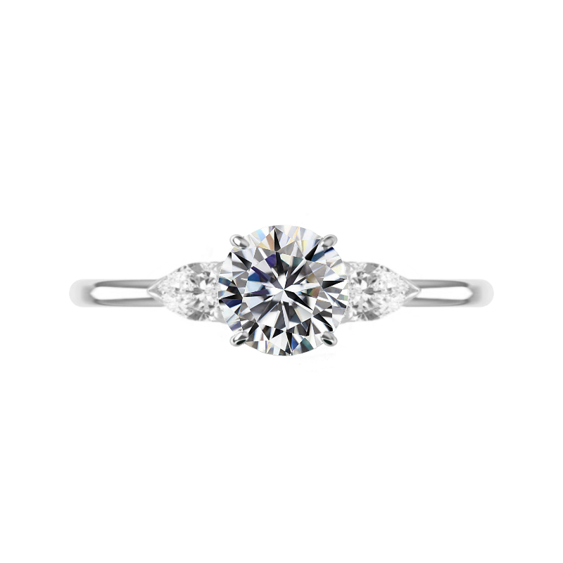 2 Carat Round Moissanite & Pear Diamond Three Stone Ring