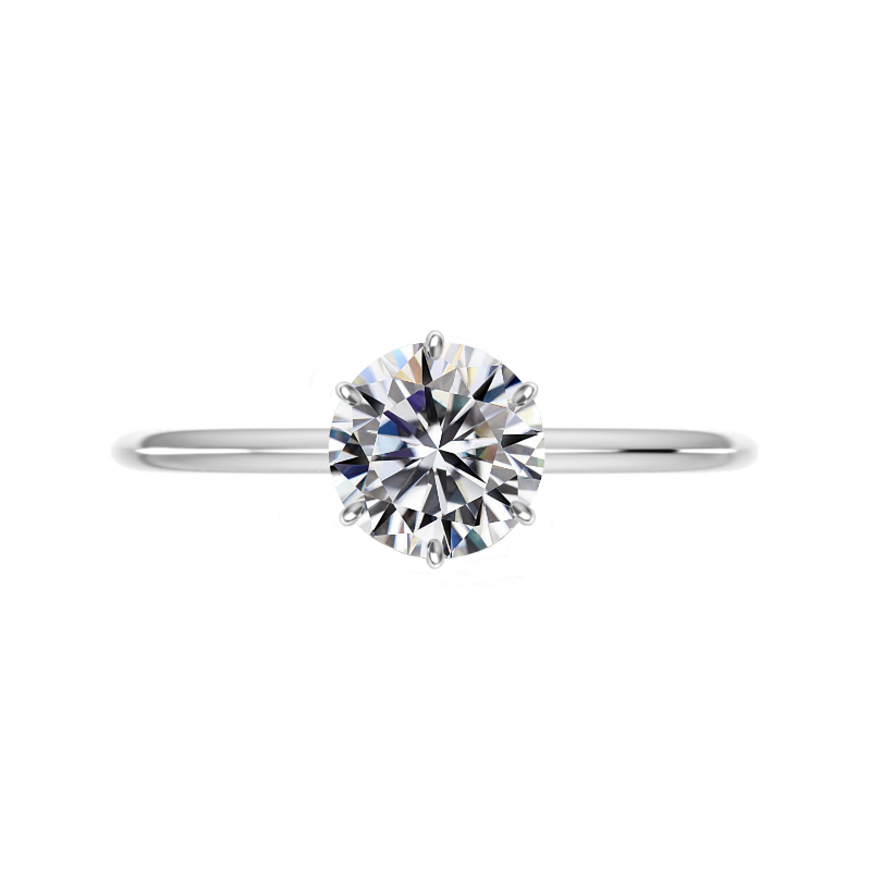 2 ct Round Moissanite Six Prong Solitaire & 3mm Diamond Eternity Band Set