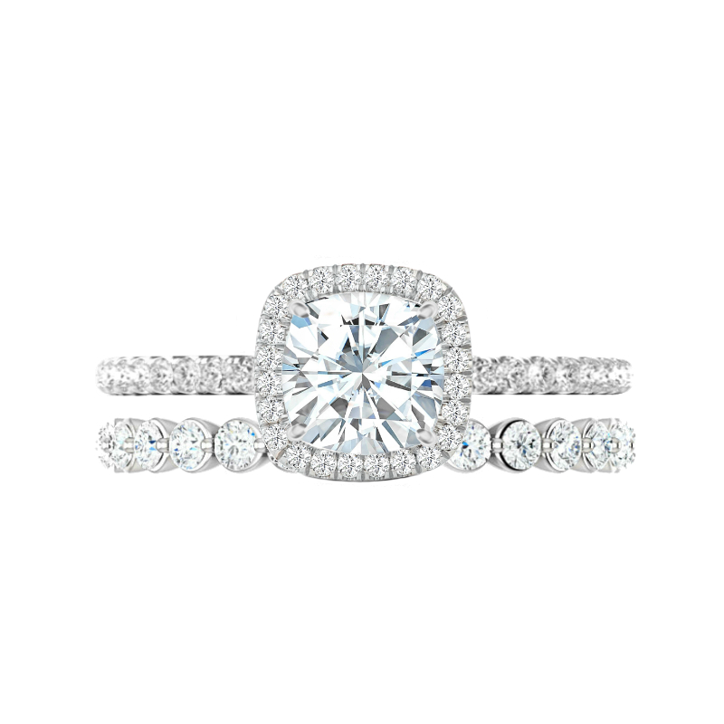2.20 Carat Cushion Moissanite & Diamond Halo Wedding Set