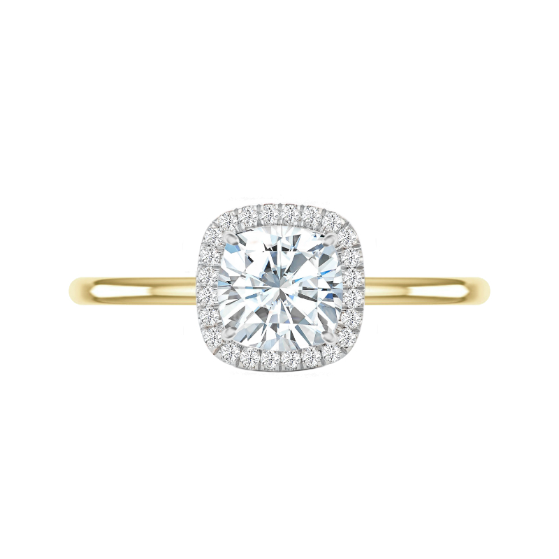 2.20 Carat Cushion Moissanite & Diamond Double Edge Halo Solitaire