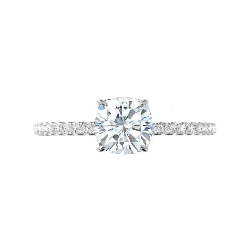 2.20 Carat Cushion Moissanite & Diamond Hidden Halo Ring
