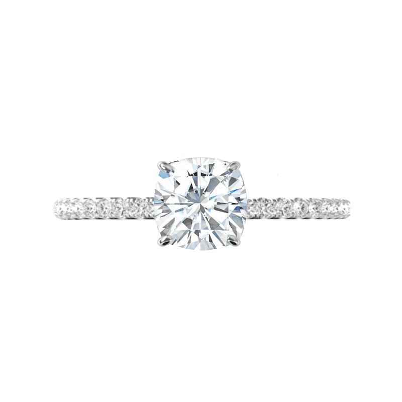 2.20 Carat Cushion Moissanite & Diamond Hidden Halo Ring