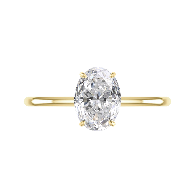 2.50 Carat Oval Moissanite & Diamond Hidden Halo Solitaire