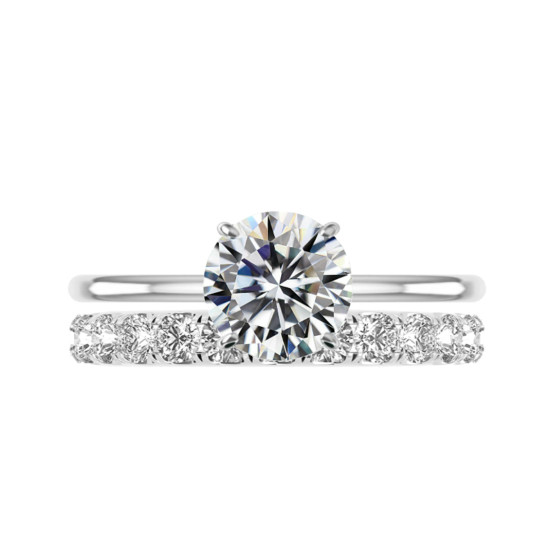 2.50 Carat Round Moissanite Solitaire & 3mm Diamond Eternity Band Set