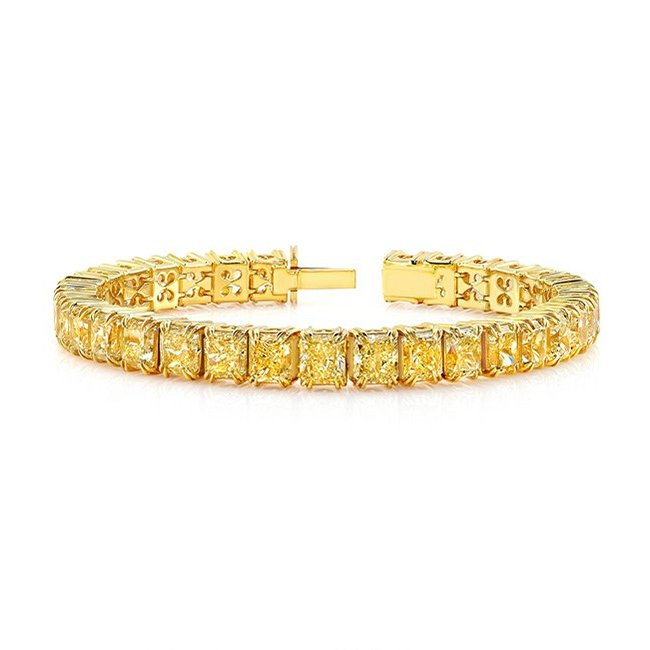 22 Carat Radiant Yellow Diamond Tennis Bracelet