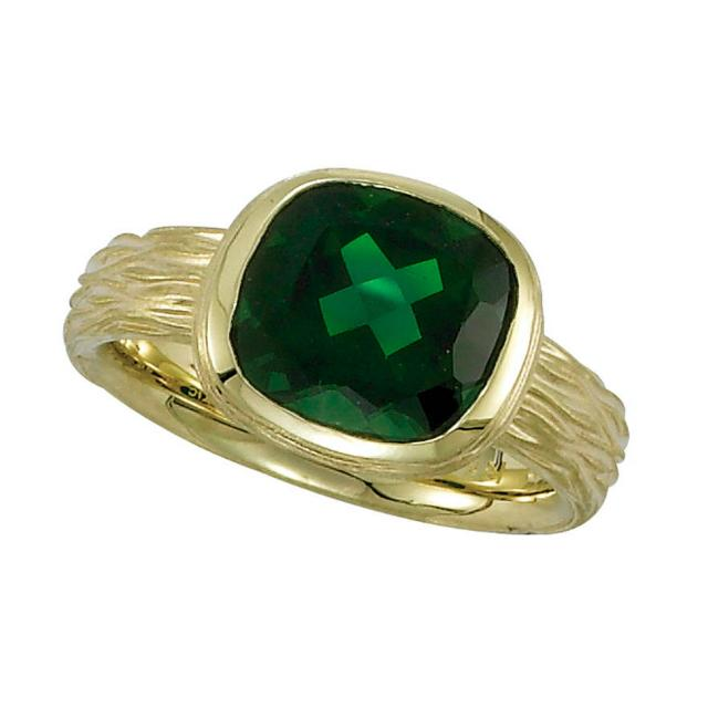 4.50 Carat Cushion Green Chrome Diopside Textured Twig Ring