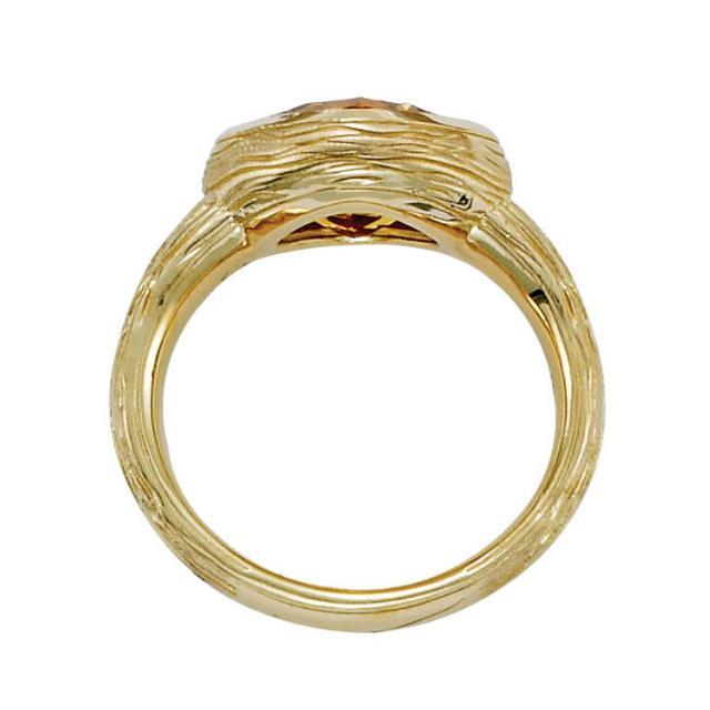 3.50 Carat Cushion Citrine Textured Twig Ring