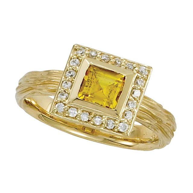 6mm Princess Yellow Sapphire & Diamond Halo Twig Ring