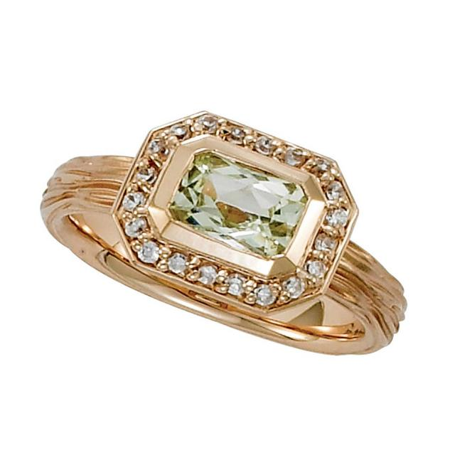 1.50 Emerald Green Amethyst & Diamond Halo Twig Ring