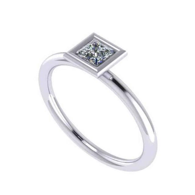 0.50 Carat Princess Diamond Bezel Solitaire 14k White Gold