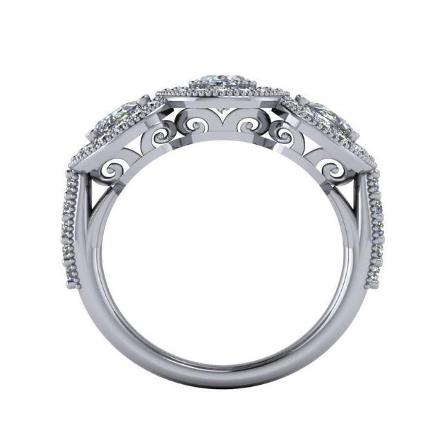 0.80 Carat & 0.50 Carat Oval Diamond Three Stone & Halo Ring