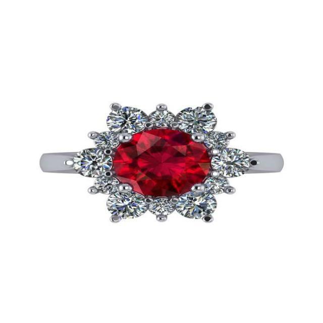2.00 Carat Oval Ruby & Diamond Starburst Halo East West Ring