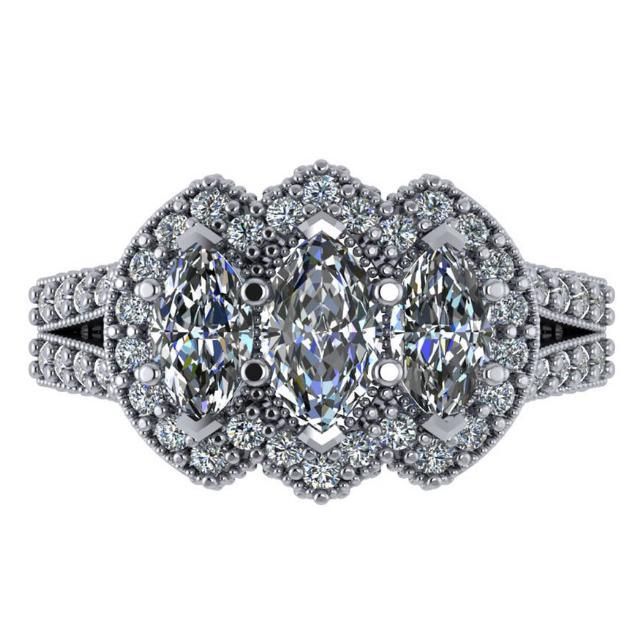 2.20 ct Marquise Diamond Three Stone & Halo Engagement Ring