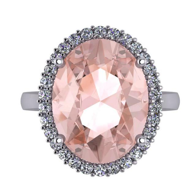 10 Carat Oval Pink Morganite & Diamond Halo Statement Ring
