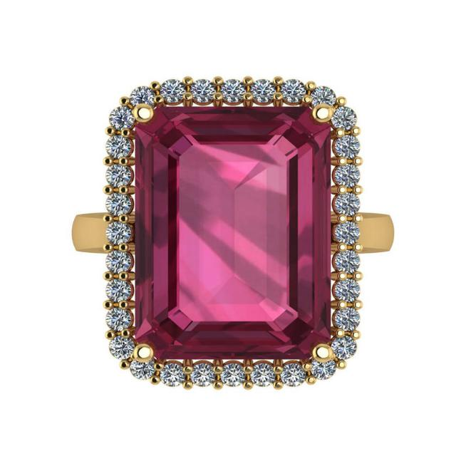 15.00 Carat Emerald Pink Tourmaline & Diamond Halo Statement Ring