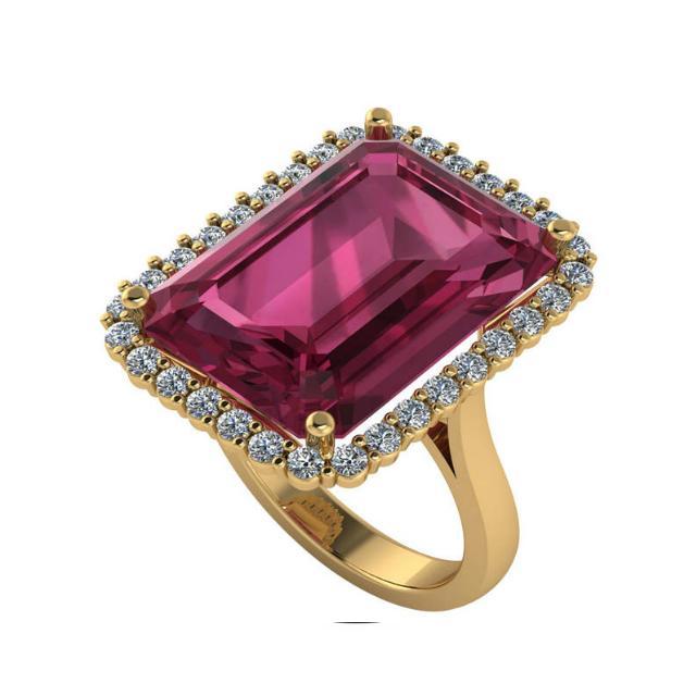 15.00 Carat Emerald Pink Tourmaline & Diamond Halo Statement Ring
