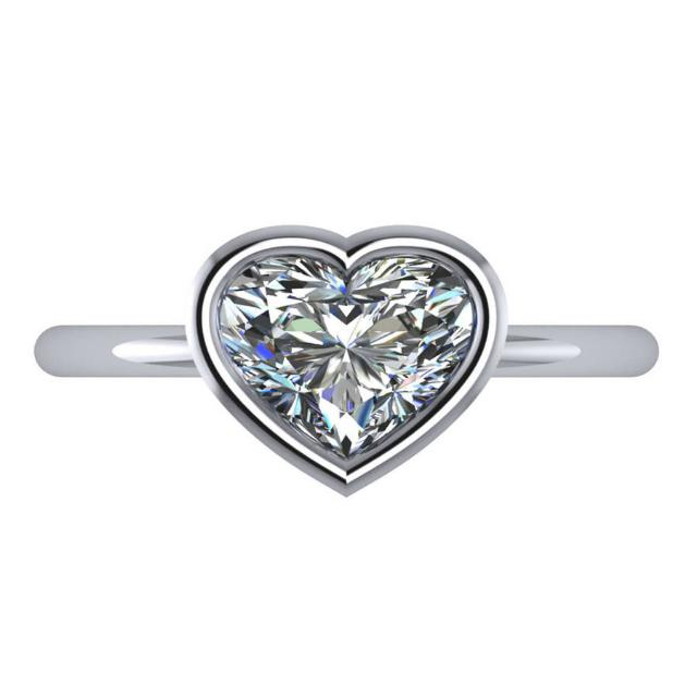 2.50 Carat Heart Harro Moissanite Bezel Solitaire Ring