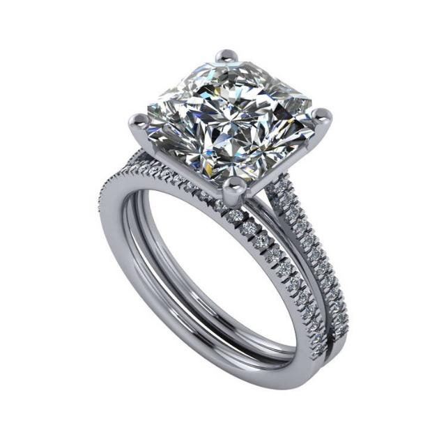GIA 6 Carat Radiant Diamond Engagement Ring Set