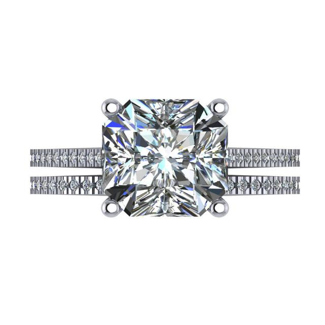 GIA 6 Carat Radiant Diamond Engagement Ring Set