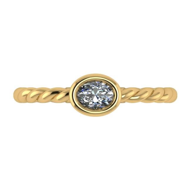 0.50 Carat Oval Diamond East-West Bezel Solitaire Rope Ring