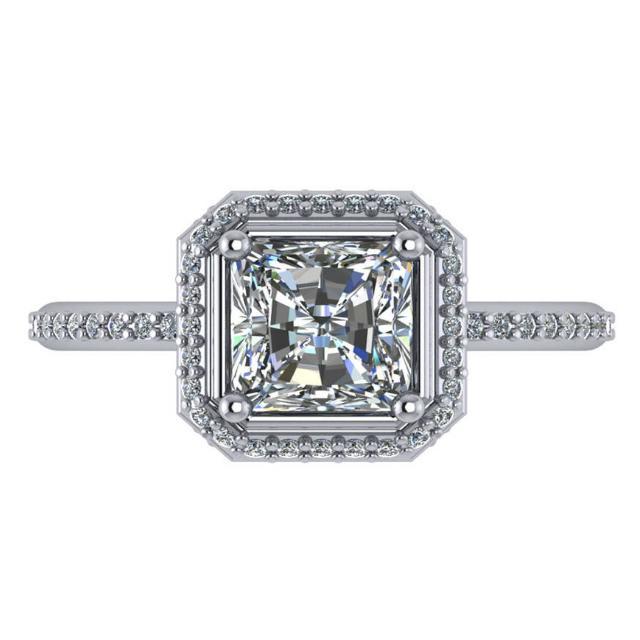 1.50 Carat Square Radiant Diamond & Halo Ring