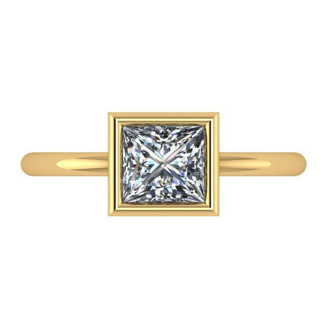 1.30 Carat Princess Diamond Bezel Solitaire 14k Yellow Gold